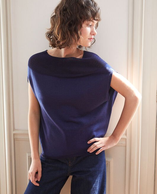 Bubble-shaped whole garment jumper MEDIEVAL BLUE