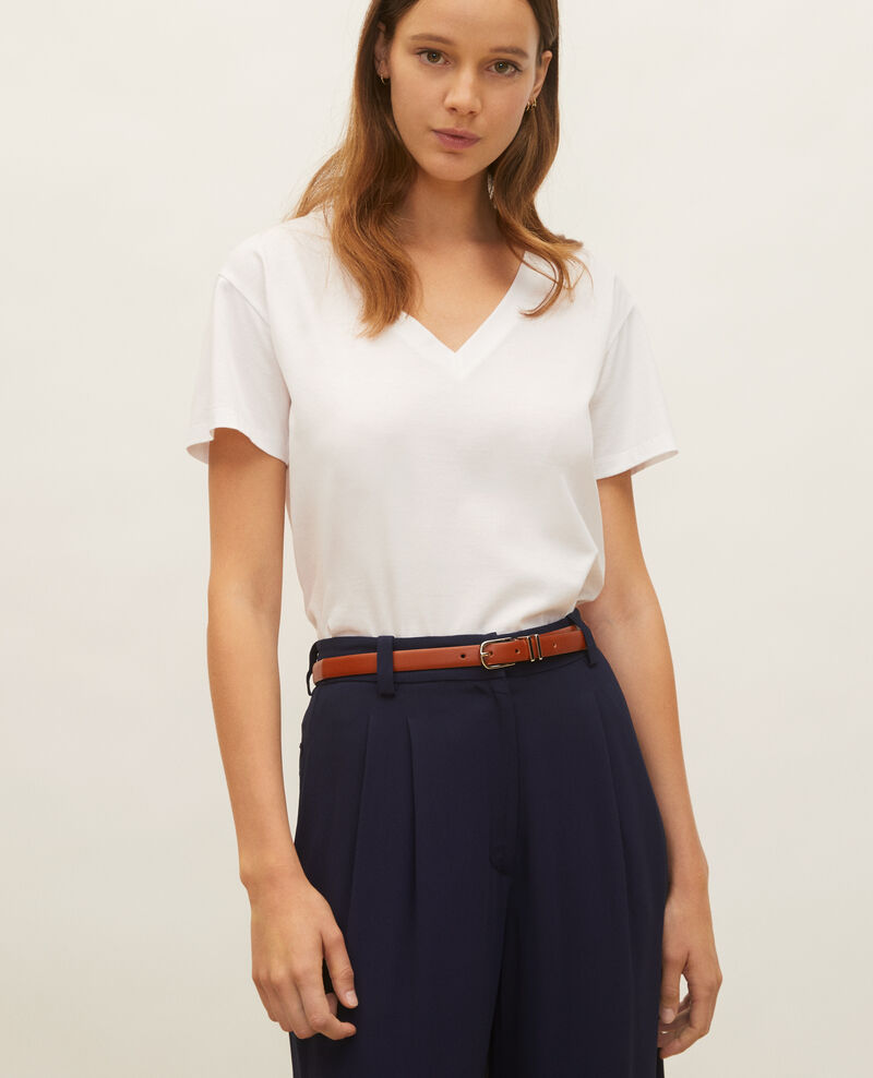 V-neck cotton t-shirt Optical white Laberne