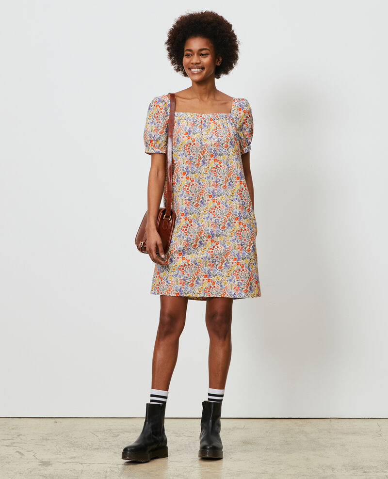 Short cotton and silk dress Prairie gardenia Neffa