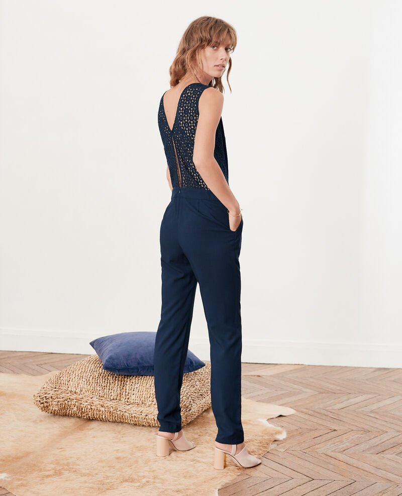 Jumpsuit with lace back Navy Fossgor