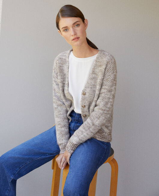 Flecked knit cardigan Grey