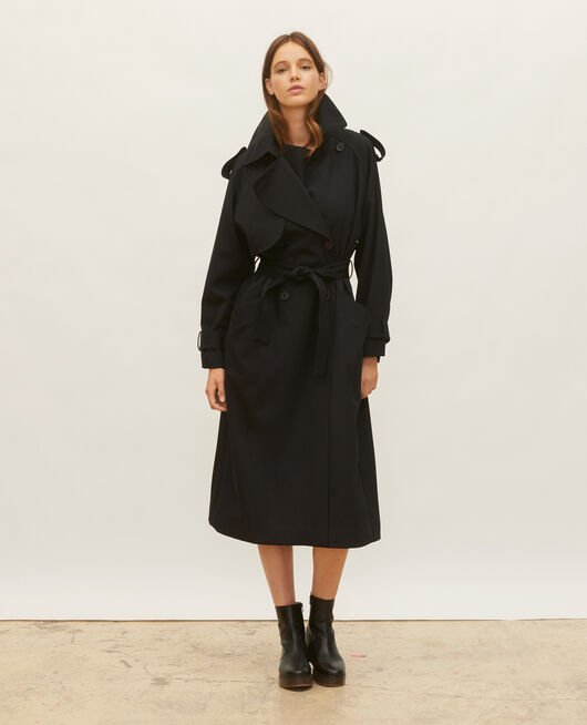 Oversize soft wool trench BLACK BEAUTY