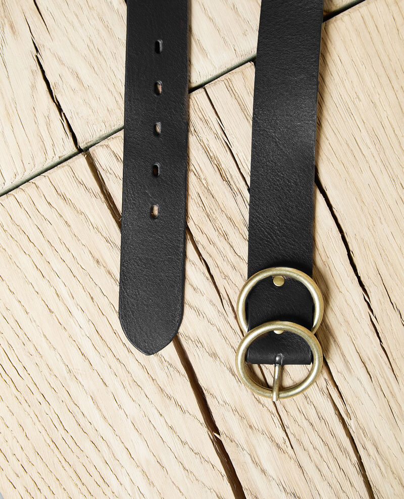 Twin buckle leather belt Noir Idoublo