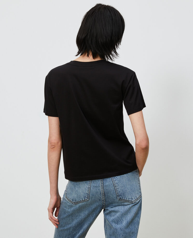 Round neck cotton t-shirt Black beauty Lirous