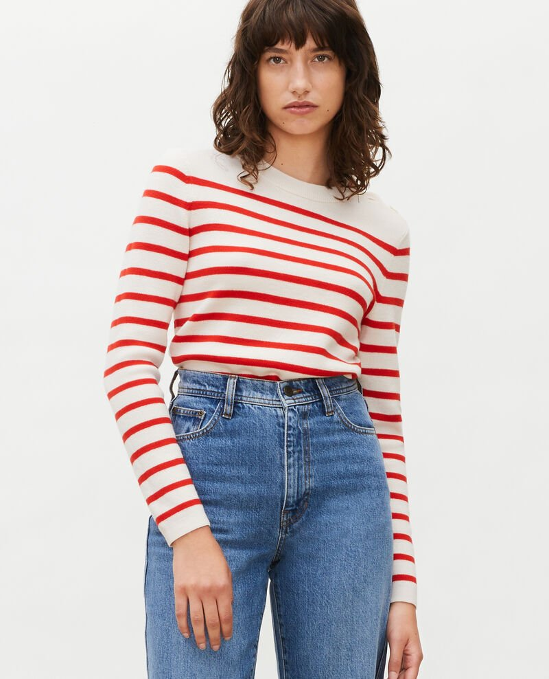 Striped wool jumper Stripes fiery red gardenia Liselle