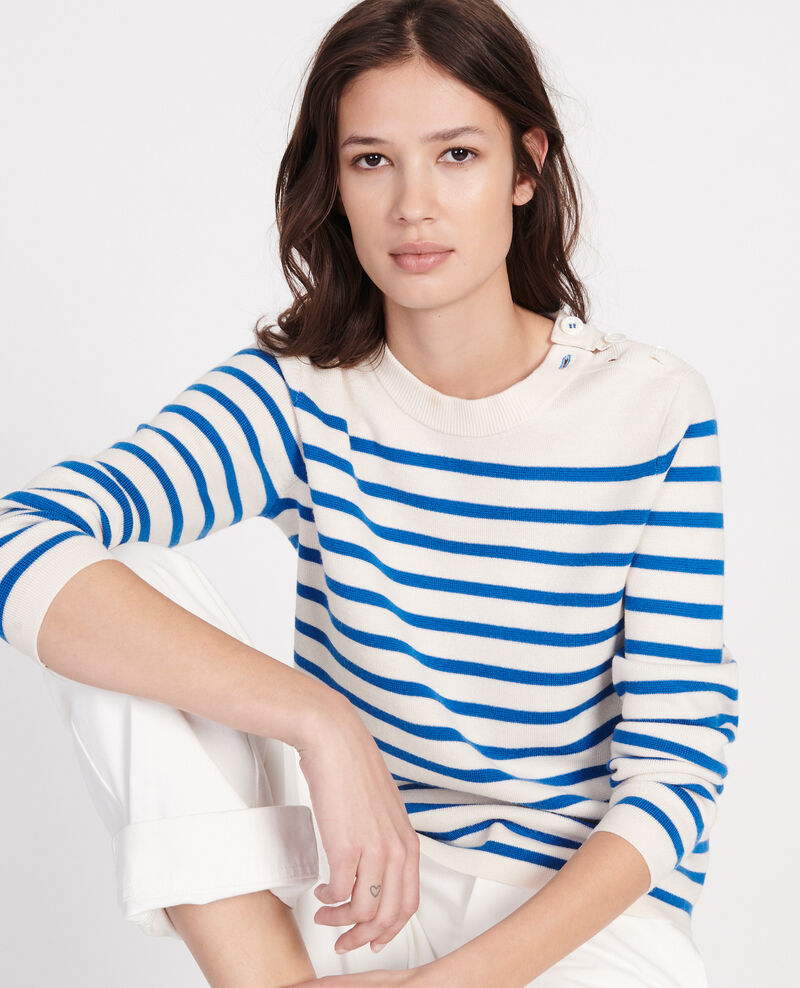 Classic wool jumper Stripes princess blue gardenia Liselle