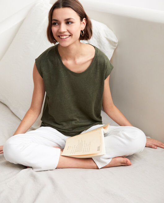 Embroidered linen T-shirt CHENG OLIVE