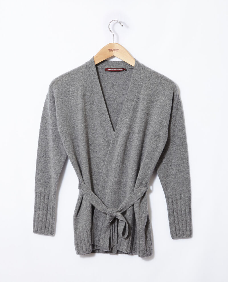 Wrapover cashmere cardigan Light heather grey Germain
