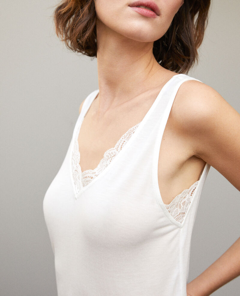 Vest top with lace White Gaia