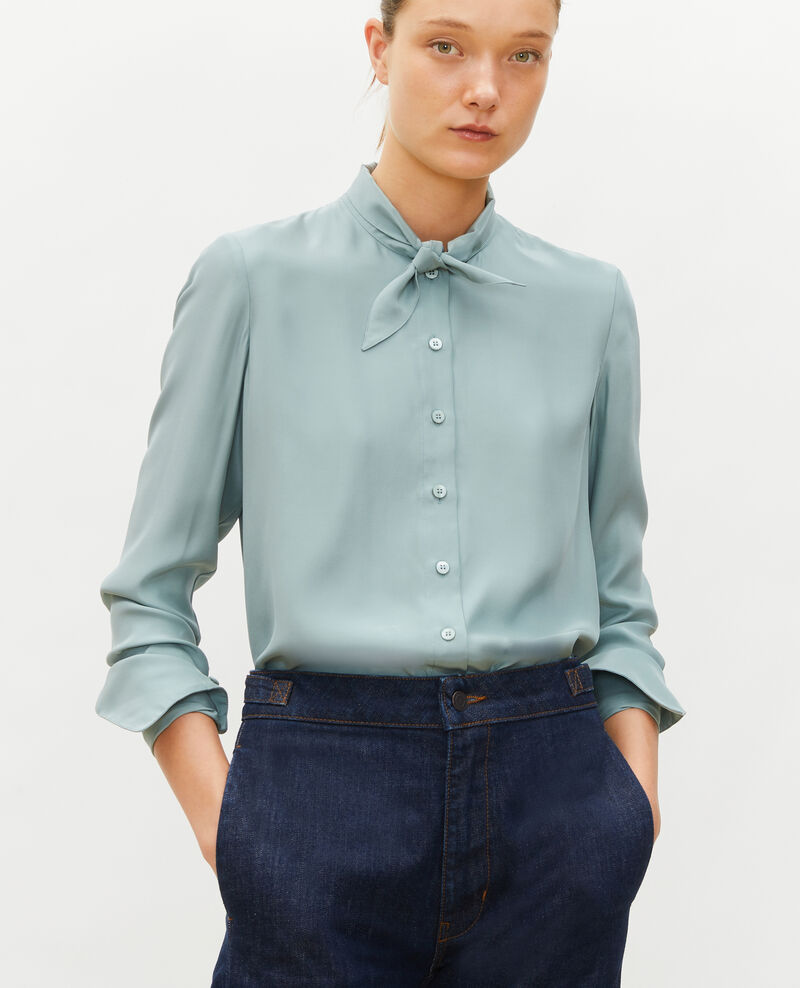 Long-sleeve tie neck silk blouse Chinois green Margueray