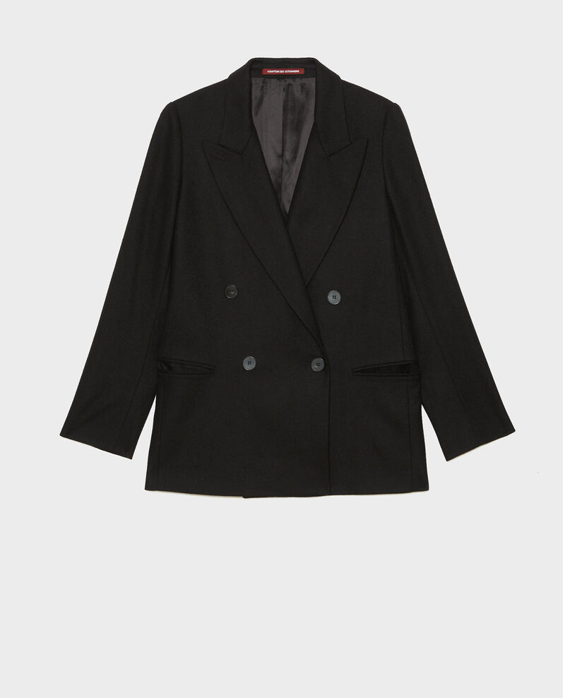 Double-breasted wool blazer Black beauty Muciane