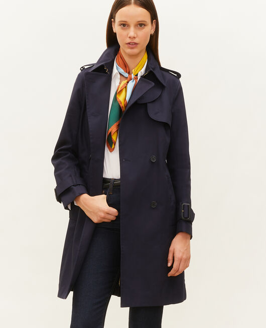 Mid-length cotton belted trench NIGHT SKY