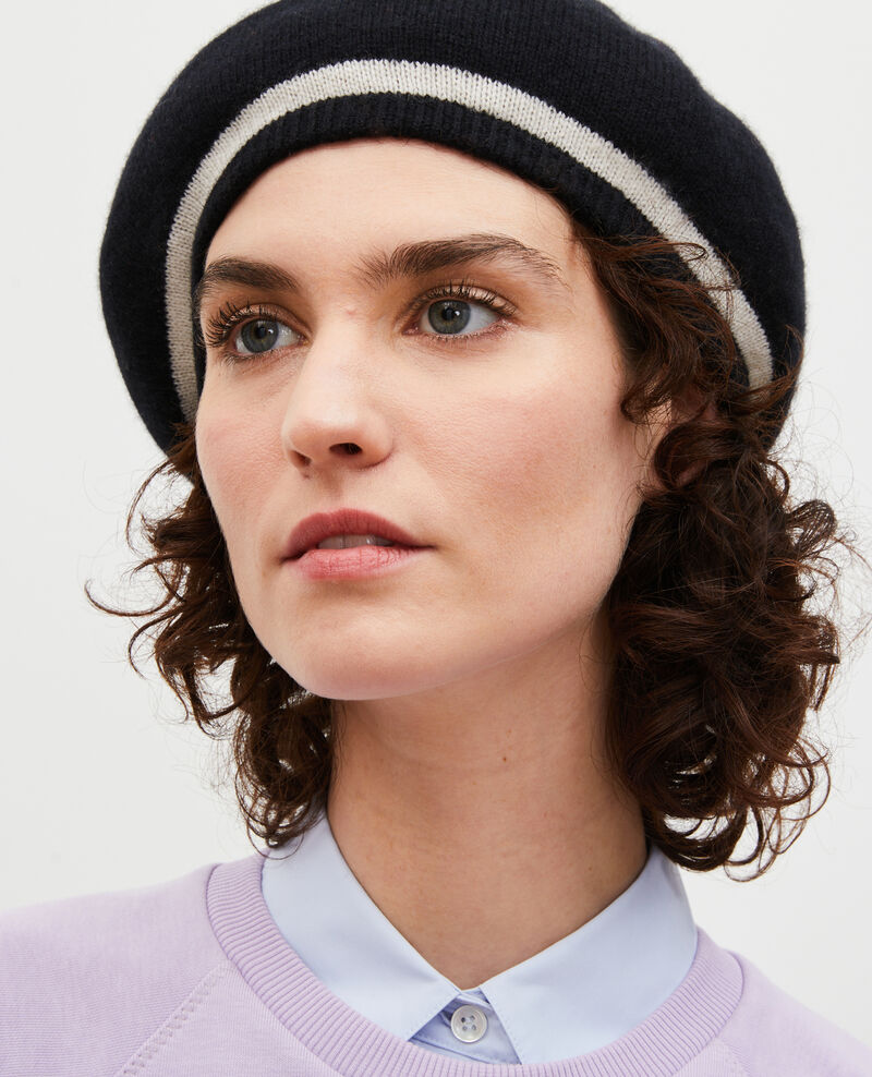 Cashmere beret Stripe black jetstream Mions