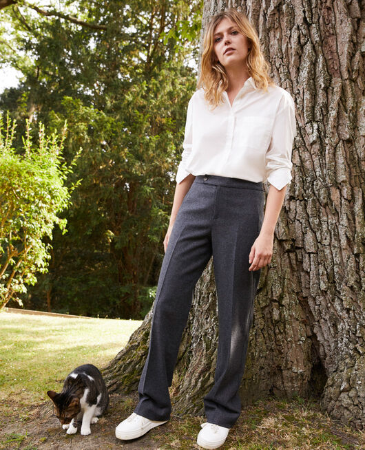 Wool blend suit trousers HEATHER GREY