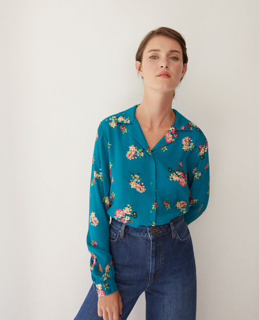 Shirt with pyjama-style collar FLEURS PACIFIC GREEN