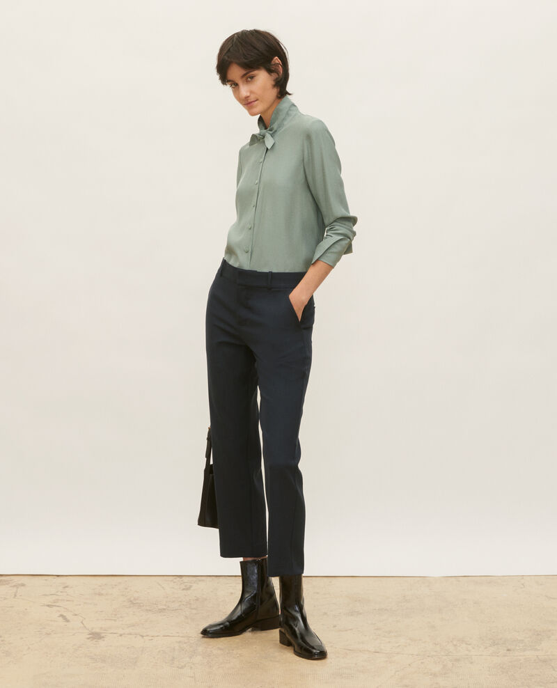 Smooth wool boyfriend trousers Dark navy Lalye