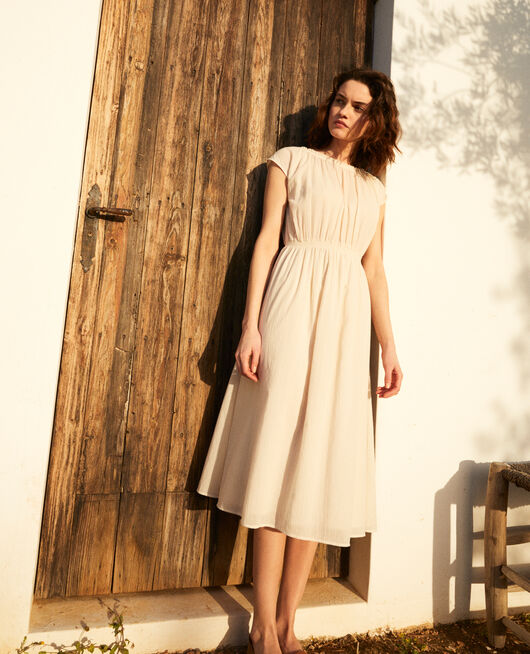 Mid-length dress LINEN/WHITE
