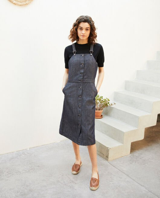 Denim pinafore dress INDIGO