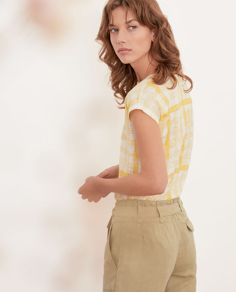 Printed linen T-shirt Ghingham big lemon Fengshui