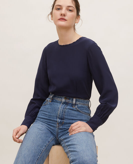 Embroidered silk blouse MARITIME BLUE