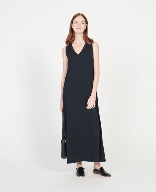Mercerised cotton maxi dress BLACK BEAUTY