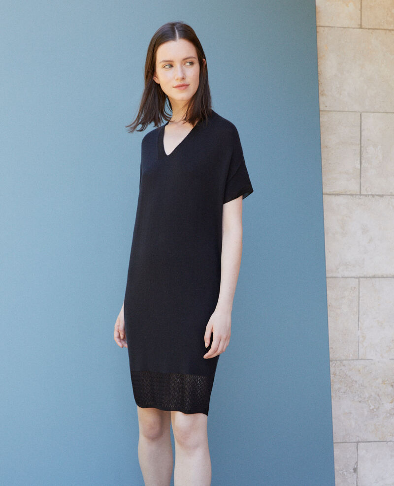 Zero-stitching knitted dress Black Gedith