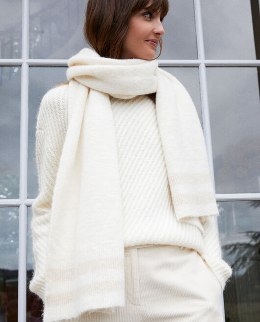 Scarf with lurex detail  OFF WHITE