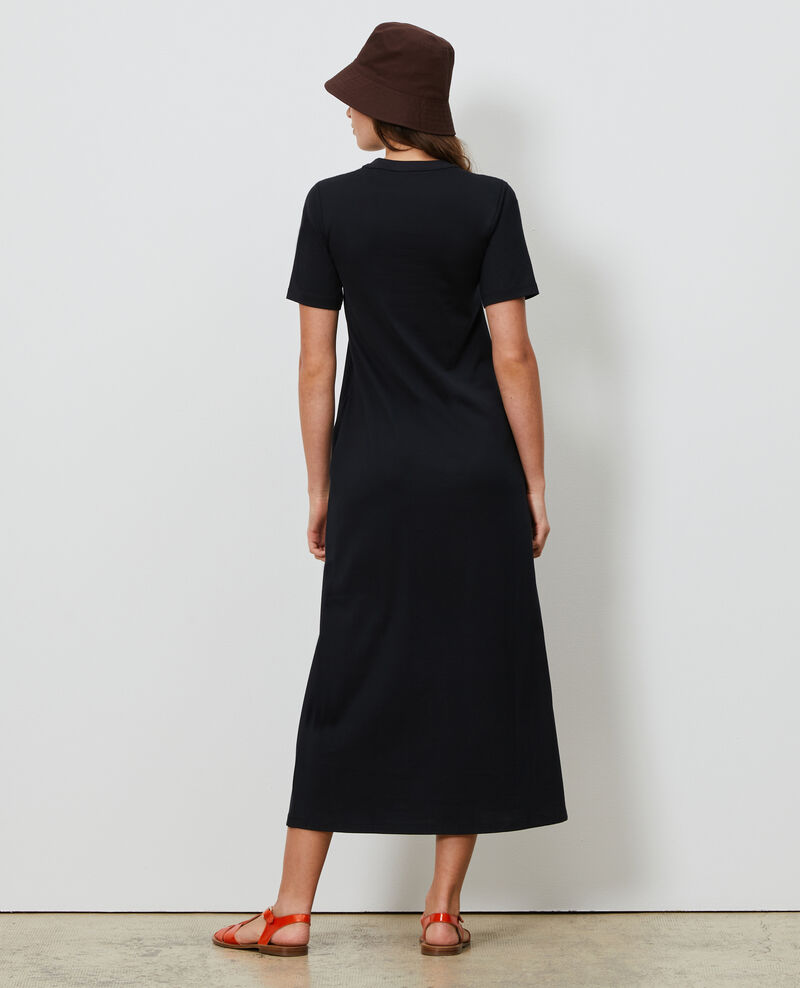 Long cotton dress with round neck Black beauty Larosata