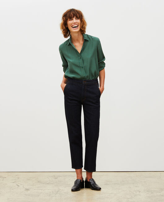 High-waisted denim carrot pants DENIM RINSE