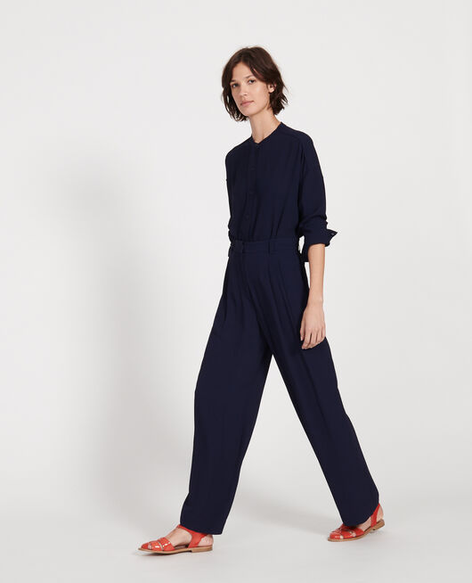 Wide and loose pleated trousers in viscose MARITIME BLUE