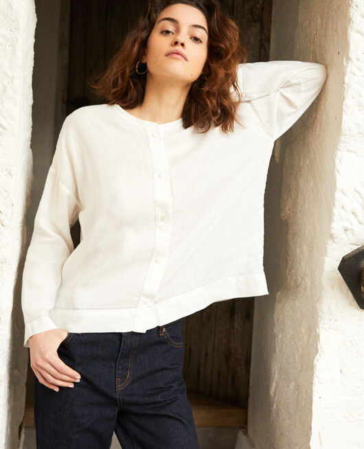 Linen blouse with Mao collar OFF WHITE