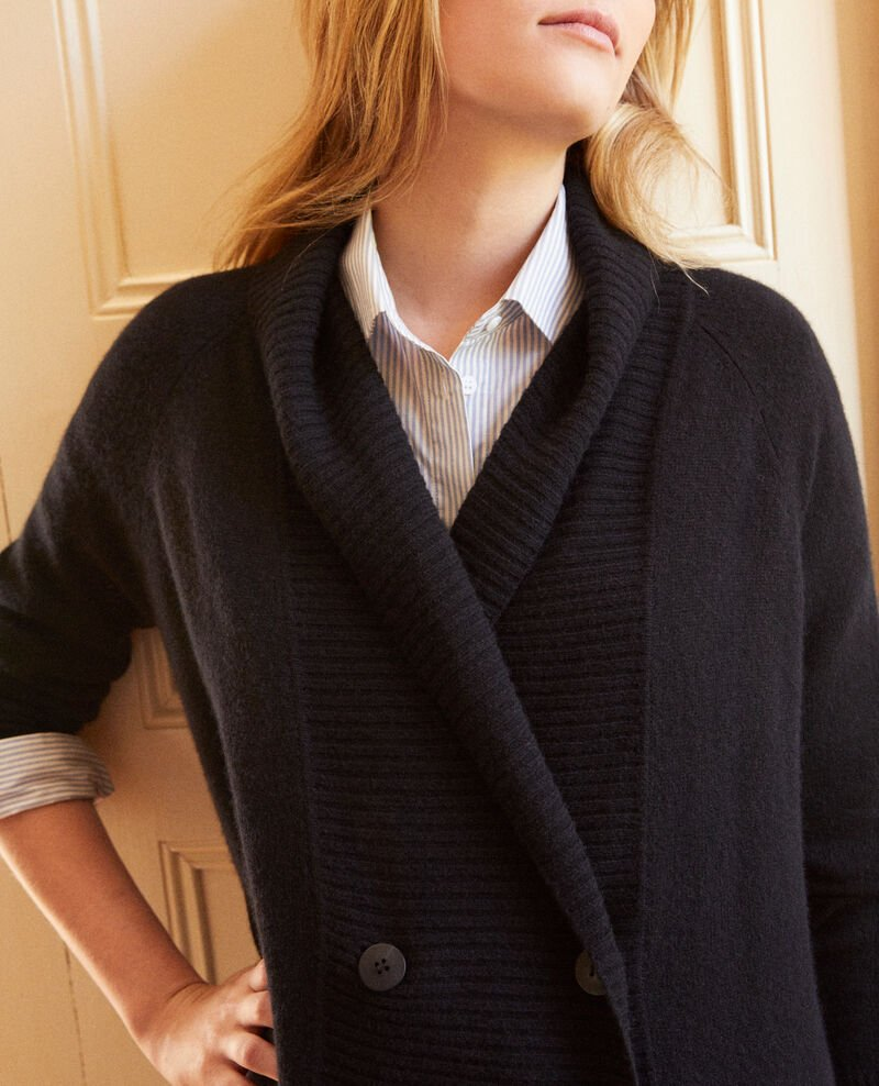 Double-breasted cardigan 100% cashmere Noir Jonky