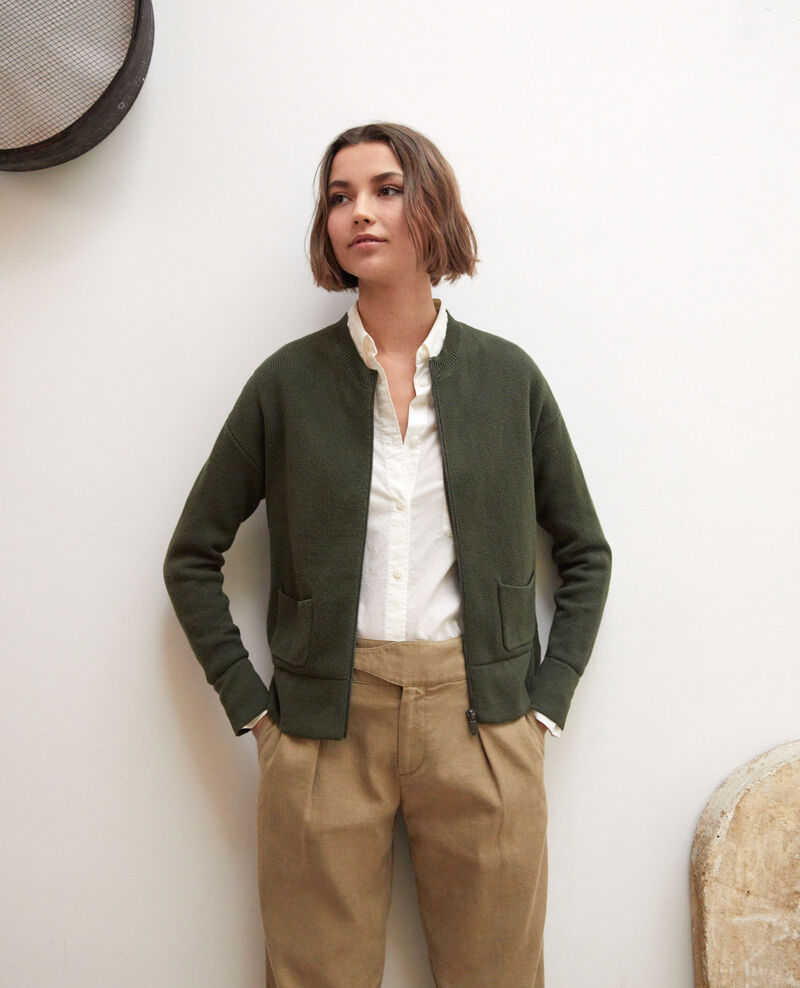 Zip-up cardigan Olive green Ifulie