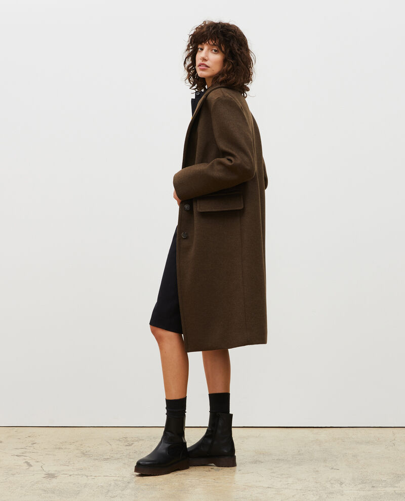 Wool and cashmere boyfriend overcoat Kaki Maule