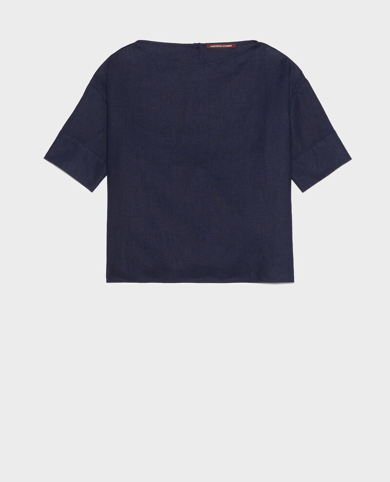 Loose linen top Maritime blue Lordat