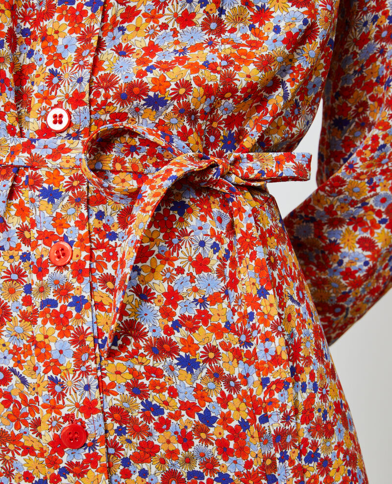 Printed maxi shirt dress Garden royalblue Narbonnie