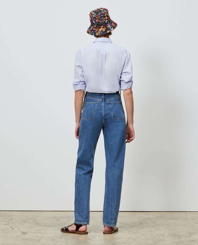 REGULAR - High-waisted 5 pocket bleached jeans Light denim Merleac