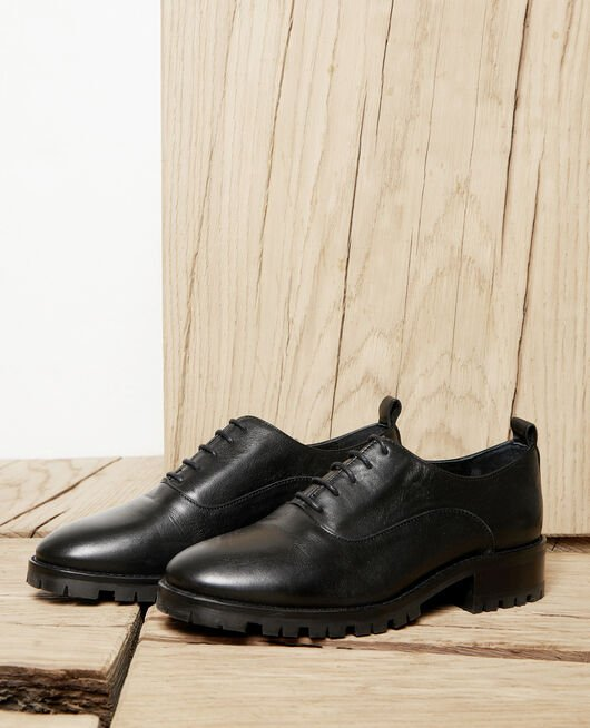 Black leather derbies NOIR