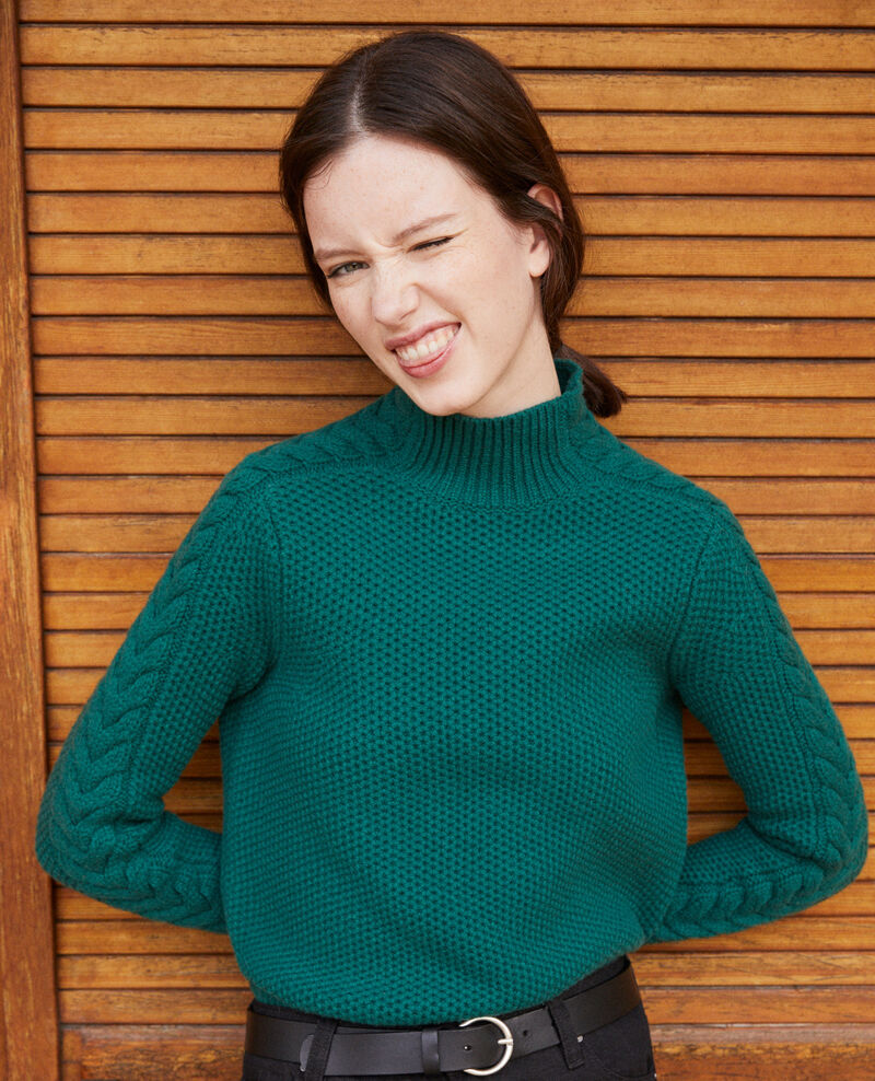 Wool jumper with braid detail Evergreen Garouk