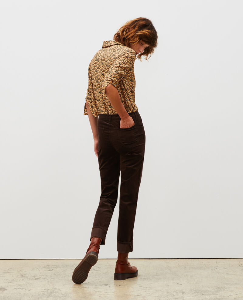 SLIM STRAIGHT - smooth velvet 5 pocket jeans Coffee bean Muillemin