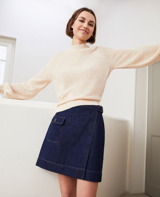 Denim wrap skirt RINSE