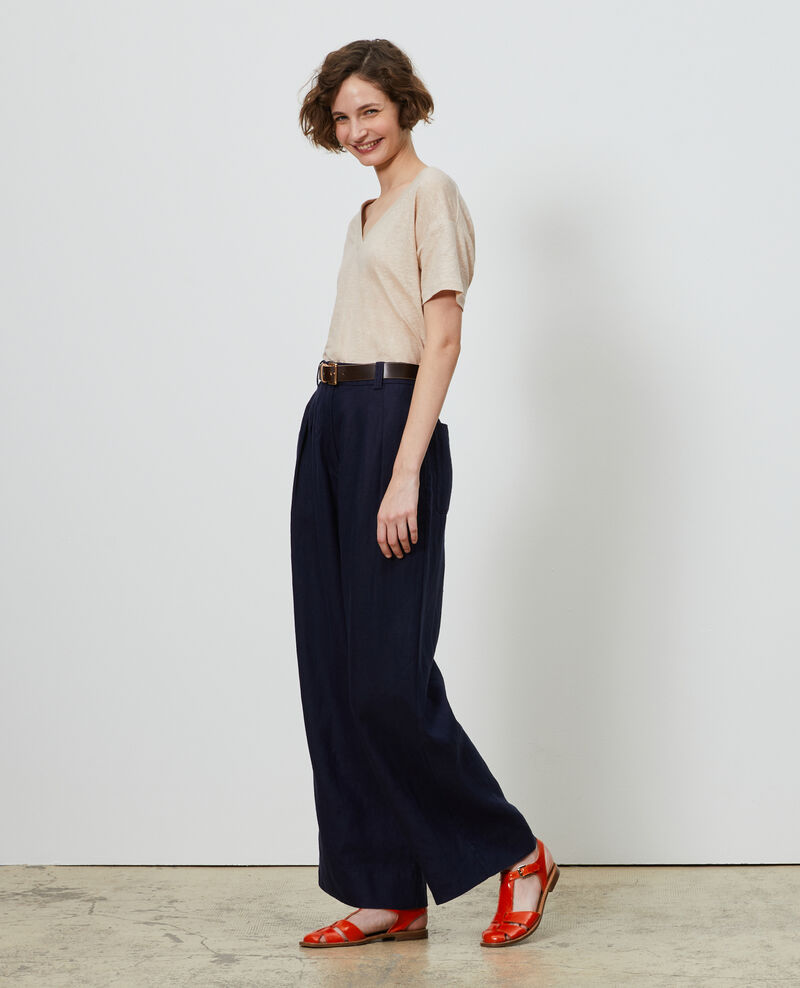 Linen high-waisted trousers Maritime blue Lafare