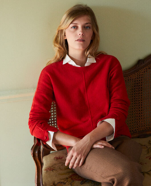 Jumper with buttons on the sleeves 100% cashmere MOLTEN LAVA