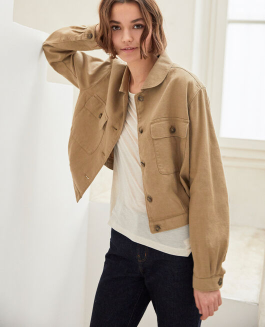 Linen blend bomber-style jacket NATURAL BEIGE