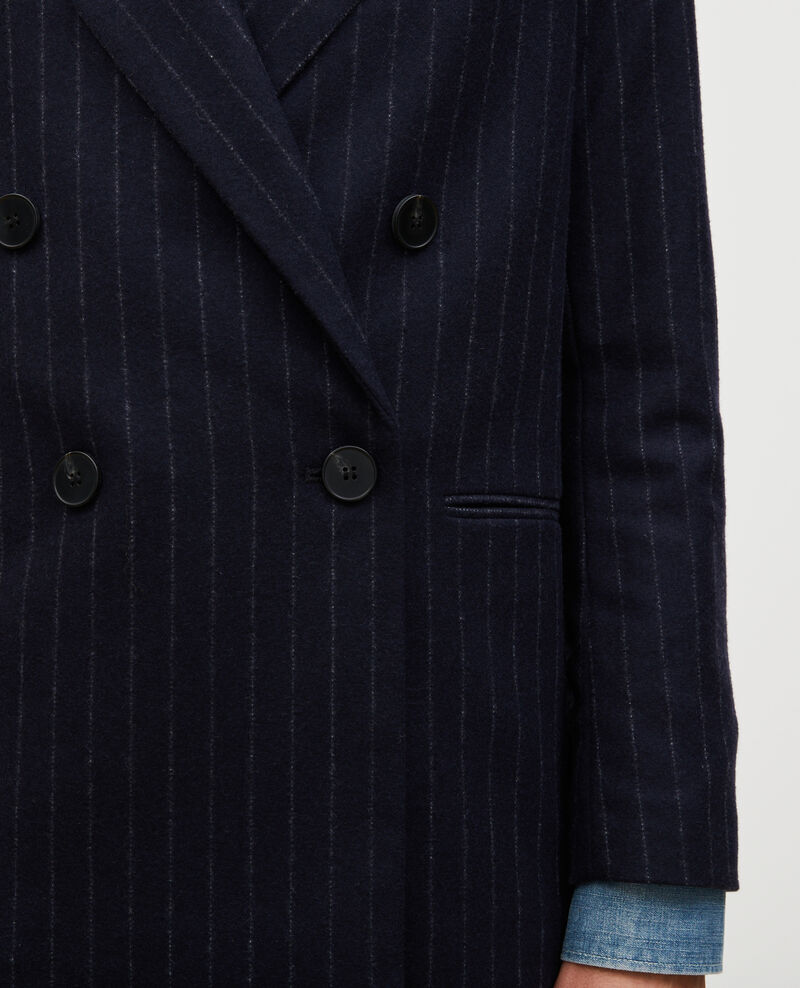 Double-breasted wool blazer Stripes night sky Muciano