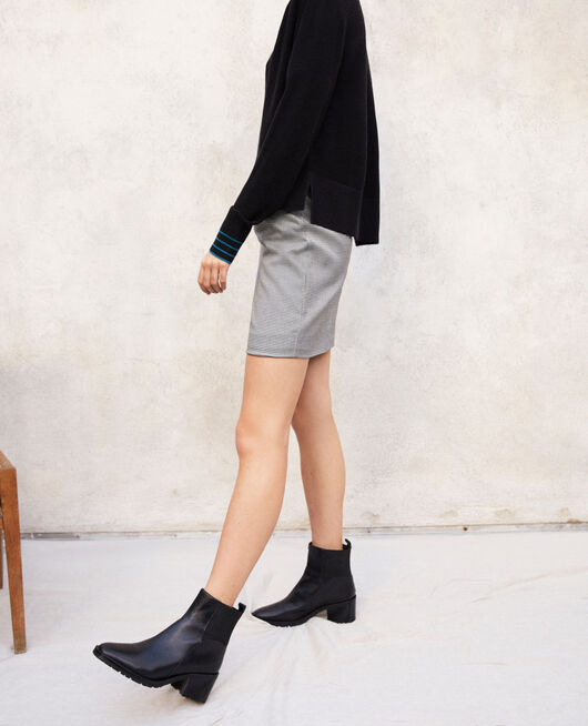 Smooth leather ankle boots NOIR