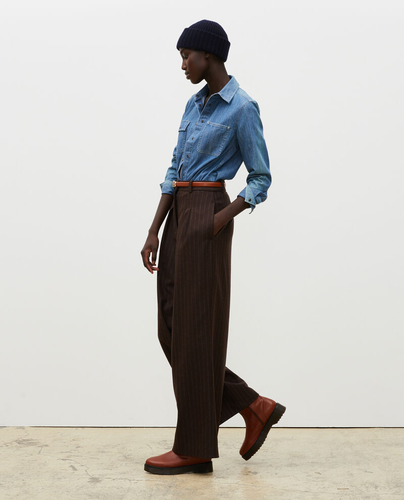 High waisted wide wool trousers YVONNE Stripe coffee bean Mefari