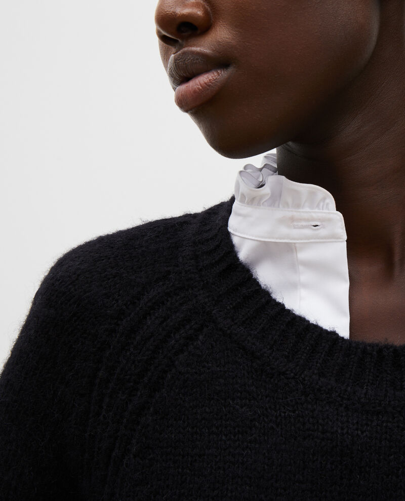 Loose boatneck wool jumper Black beauty Mombrier
