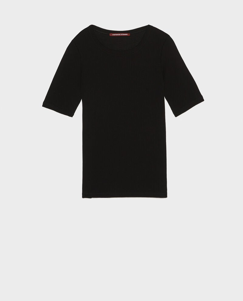 Mercerised cotton ribbed t-shirt Black beauty Lasso