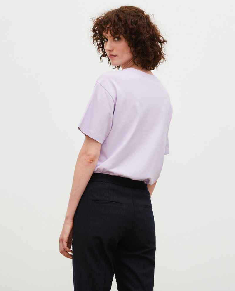 Short-sleeve cotton t-shirt Pastel lilac Mia